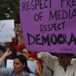media protest rally